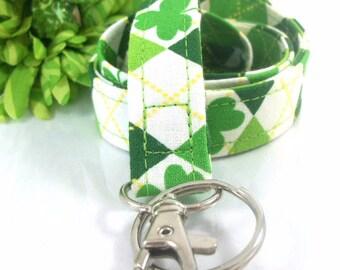 Fabric Lanyard in Lucky Irish Shamrocks