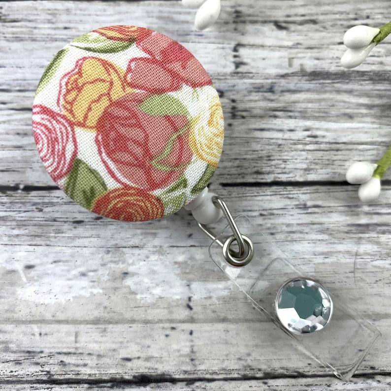 Badge Reel  Floral Name Tag Holder  Retractable Badge Reel  image 1