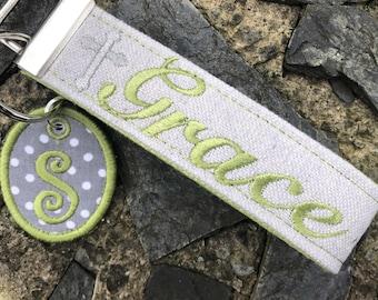 Grace Wristlet Keychain, Wrist Keychain for Her, Key fob Wristlet, Keychain Wristlet, Bracelet Keychain, Inspirational Keychain, Monogram