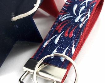 Patriotic Wristlet Keychain, Wrist Keychain for Her, Key fob Wristlet, Keychain Wristlet, Bracelet Keychain, Popular Right Now