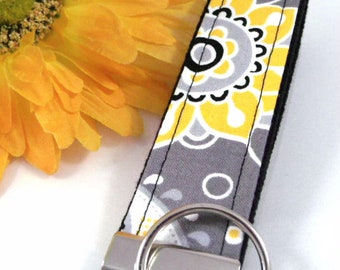 Handmade Boho Keychain, Grey Wristlet Key Fob Floral Fabric, College Graduation Gift for her, Expecting Mom Gift