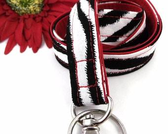 Black and White Zebra Stripes Fabric Lanyard Red