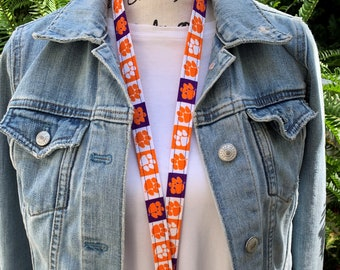 Clemson Lanyard   Approved Crafter License Holder   Clemson University   Clemson Tigers   College Gifts   Lanyard for Keys  Graduation gifts