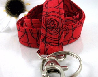 Key Lanyard ID Badge Holder Roses