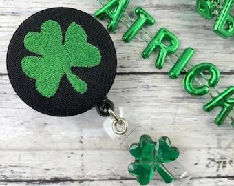 Handmade Badge Reel, Four Leaf Clover, St. Patrick's Day, RN Badge Reel, Nurse Badge Reel, Medical Student Gift, Popular Right Now