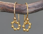 Tiny Beaded Circle Earrings in 18K Gold Plate, READY TO Ship