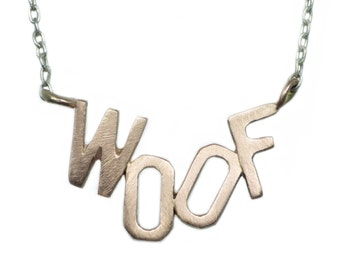 WOOF Necklace in 10K Gold and Sterling Silver