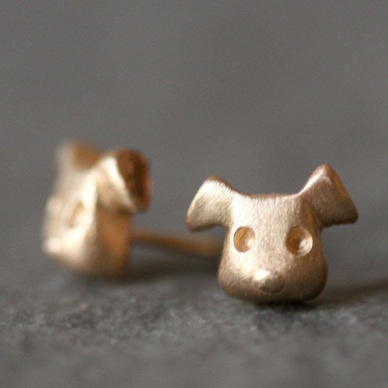 Puppy Stud Earrings with or without Gemstones image 0