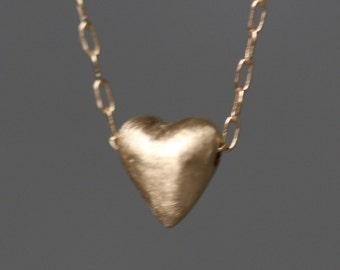 Tiny Puffy Heart Necklace in 14K Gold