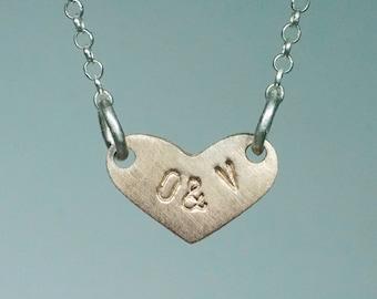 Sideways Heart Necklace, Personalized