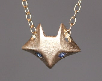 Fox Necklace in 14K Gold with Gemstones