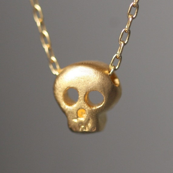 Baby Skull Necklace In 18k Gold Plate Etsy
