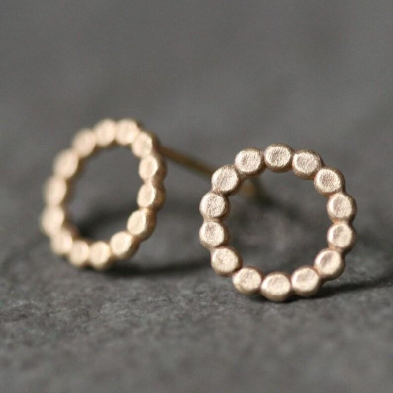 481e8deb1 Flat Circle Stud Earrings in 14k Gold | Etsy