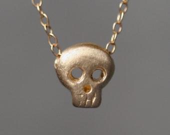 Baby Skull Necklace in 14k Gold