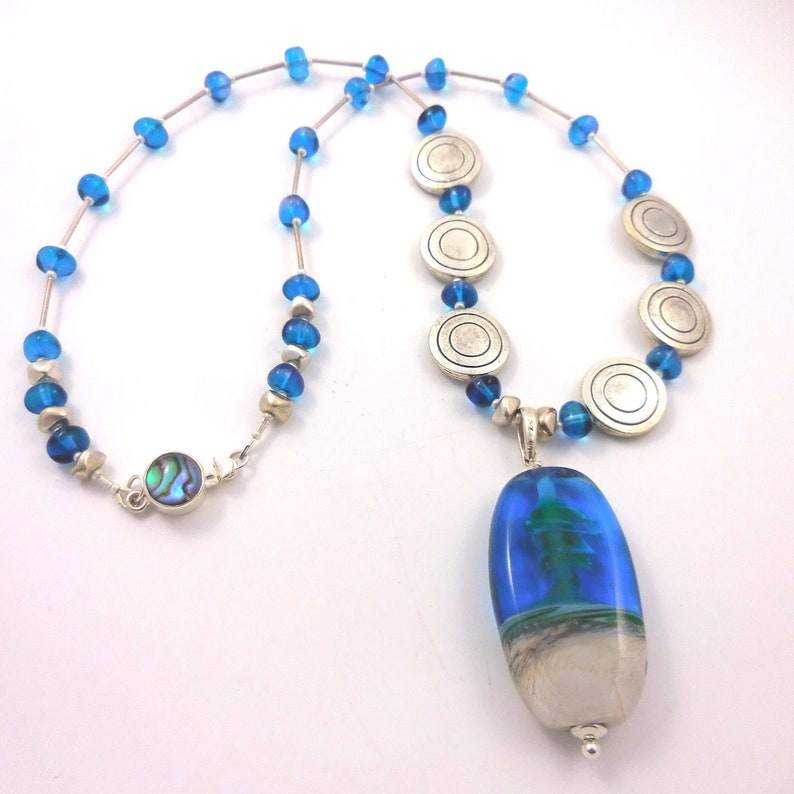 21 Beach Elegance Hand blown Glass Focal Pendant Beach Colors Sterling Silver Mother of Pearl Clasp