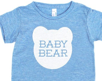 Baby Bear TriBlend Heather Blue TShirt - Kids Toddler Babies Infant, Family Photos, Expecting, Little Bear, Matching, Mommy and Me