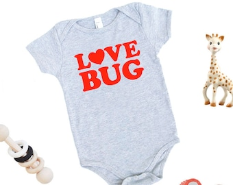 Love Bug Organic Cotton One Piece Romper - Baby Shower Gift, Expecting, Love is Love, Little Love, New Baby, Lover, Mother's Day, Adorable