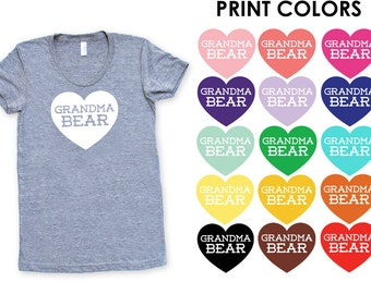 e3583cf8 Grandma Bear with Heart TriBlend Heather Grey TShirt - Family Photos, Gift  for Her, Announcement, Expecting, New Baby, Mother's Day