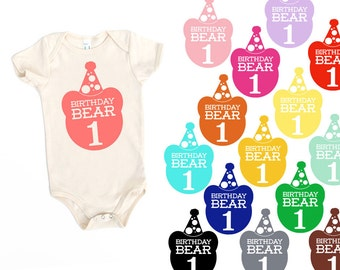 Birthday Bear with 1 Natural Off-White Organic Cotton One Piece Romper Bodysuit - Birthday Party Outfit, Family Photos, First Birthday, One