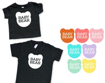 Baby Bear TriBlend Heather Black TShirt - Kids Toddler Babies Infant, Family Photos, Expecting, Little Bear, Matching, Mommy and Me