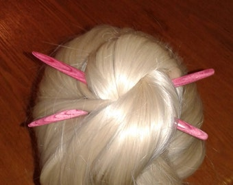 Pink Dymondwood 10th Anniversary Special handcrafted wood hair or shawl sticks