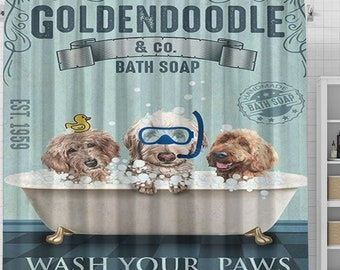 Goldendoodle Dog Bath Soap Shower Curtain, Doodle Shower Curtain, Dogs In Bathtub Curtain, Dog Lovers Gift, Animal Bathroom Curtain