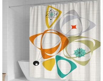 Mid-Century Modern Atomic Shower Curtain, Atomic Burst Of Color Bath Curtain, Atomic Retro Mid-Century Curtain, Abstract Shower Curtain