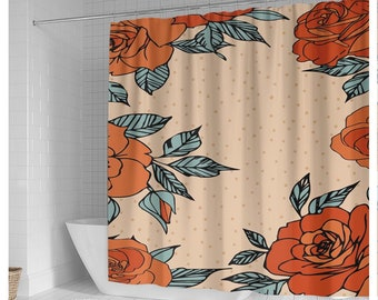 Rose Shower Curtain, Rose Curtains, Rose Pattern Bathroom Curtain, Vintage Flower Shower Curtain, Floral Shower Curtain, Flower Bath Curtain
