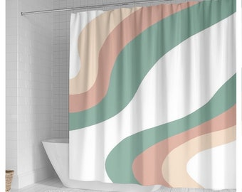 Pastel Color Shower Curtain, Minimal Abstract Shape Shower Curtain, Abstract Pattern Curtain, Modern Bathroom Curtain, Minimalist Curtain