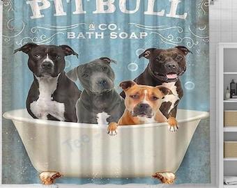 Wash Your Paws Pitbull Dog Shower Curtain, Dog Shower Curtain, Dogs In Bathtub Curtain, Dog Lovers Gift, Animal Bathroom Curtain