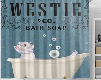 Westie Dog Bath Soap Shower Curtain, Dog Shower Curtain, Dogs In Bathtub Curtain, Dog Lovers Gift, Animal Bathroom Curtain