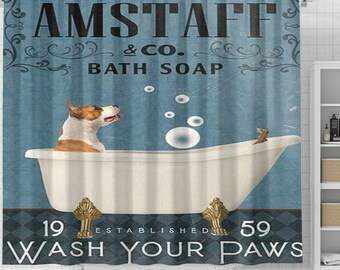 American Staffordshire Terrier Dog Shower Curtain, Terrier Dog Shower Curtain, Dog In Bathtub Curtains, Animal Bathroom Shower Curtains