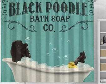 Black Poodle Dog Bath Soap Shower Curtain, Poodle Dog Shower Curtain, Dog In Bathtub Curtain, Dog Lovers Gift, Animal Bathroom Curtain