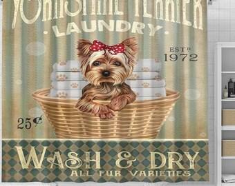 Yorkshire Terrier Dog Laundry Shower Curtain, Dog Shower Curtain, Dogs In Bathtub Curtain, Dog Lovers Gift, Animal Bathroom Curtain