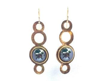 Hematite Earrings. Gold Earrings. Long Gold Earrings. Mixed Metal Earrings. Hematite Jewelry. Gold Circle Earrings. Big Gold Earrings. Gold.