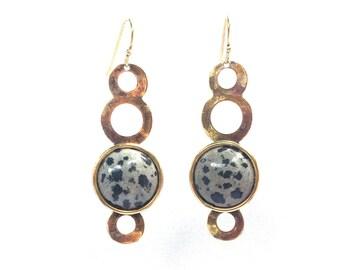 Black and White Earrings. Neutral Earrings. Speckled Earrings. Long Gold Earrings. Earrings for Mom. Boho Bride. Gemstone Earrings. Earrings
