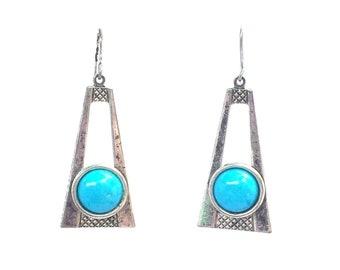 Turquoise Earrings. Silver Earrings. Small Turquoise Earrings. Small Silver Earrings. Boho Chic. Turquoise Bridal Earrings. Turq Earrings.