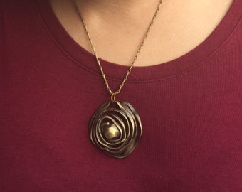 Brass Necklace. Spiral Necklace. Statement Necklace. Brass Statement Necklace. Boho Necklace. Molly Rose Post Jewelry. Outer Space Jewelry