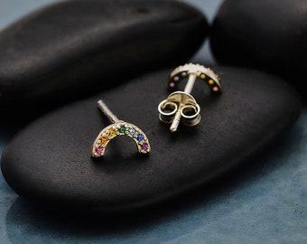 Rainbow studs. pride earrings. rainbow crystal earrings. stud earrings. small rainbows. rainbow earrings. silver studs. pride studs. silver