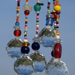 Beaded Crystal Hanging Window Sun Catcher Boho Feng Shui Mobile Multicolored Colorful Hippie Decor Windchime suncatcher rainbow ball cut