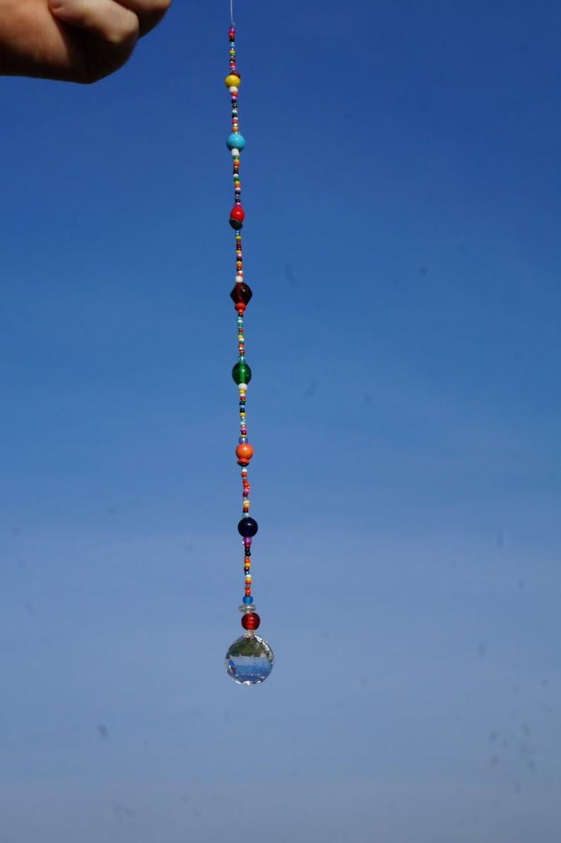 Beaded Crystal Hanging Window Sun Catcher Boho Feng Shui Mobile Multicolored Colorful Hippie Decor Windchime suncatcher rainbow ball prism
