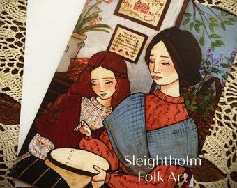 NOTECARD Stitching Lessons 5x7 sewing folk art W/Envelope