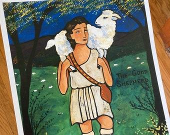 PRINT The Good Shepherd 11x14 catechesis art