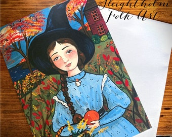 Phoebe's Harvest 5x7 Notecard with Envelope halloween witch