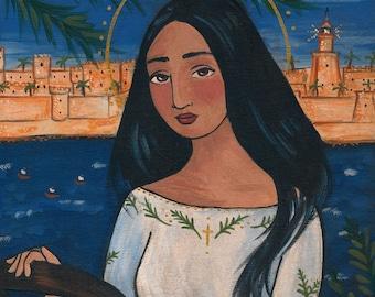 PRINT Saint Catherine of Alexandria 8x10 folk art