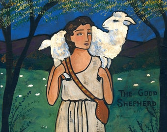 PRINT The Good Shepherd 8x10 folk art