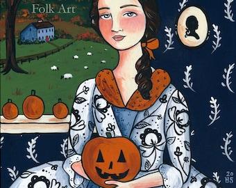 Veritys Pumpkin 8x10 PRINT whimsical colonial halloween