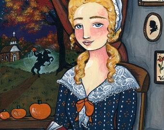 PRINT Katrina Van Tassel 8x10 Sleepy Hollow folk art