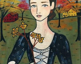 PRINT Autumn Emilia 8x10 New England Halloween Folk Art