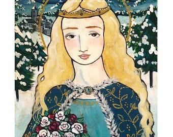PRINT Saint Elizabeth of Hungary 8x10 folk art
